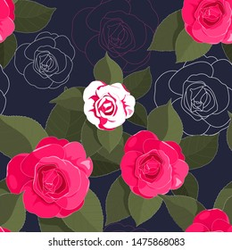 hand drawn hot pink camellia with green leaf and outline flower in seamless pattern on dark navy background
