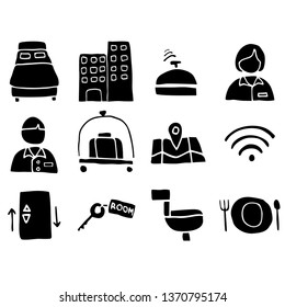 Hand drawn hotel related vector icon set, Isolated hotel symbols collection. Isolated on a vector background