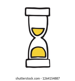 Hand Drawn hourglass doodle icon. Vector illustration