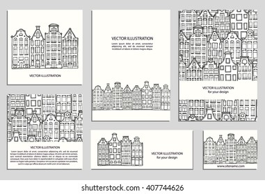 Hand drawn house, card template collection. Drawing cards templates. Set design elements. Doodle scandinavian Amsterdam houses. Vector Illustration. Dutch home