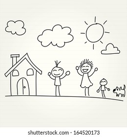 Hand Drawn of house and children