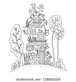 hand drawn house fairytale tea 260nw