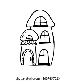 Hand drawn house in the shape of a mushroom isolated on a white background. Children's style. Doodle, simple outline illustration. It can be used for decoration of textile, paper.