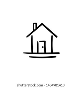 Hand drawn house. Simple vector icon