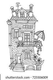 Hand drawn house. Sketch for anti-stress adult coloring book in zen-tangle style. Vector illustration  for coloring page.