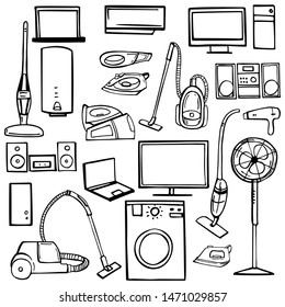 Hand drawn household appliances for home. Vector sketch  illustration.