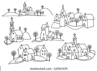 Hand drawn houses or rural landscape
