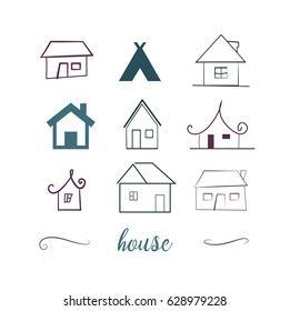 hand drawn houses set. house icons. 9 different home symbols. vector design elements
