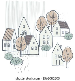 Hand drawn houses and trees. Vector sketch  illustration.