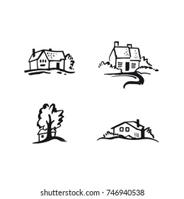 Hand drawn houses. Vector black and white illustration of cozy cottages and trees. Set of logo templates for real estate company or home business