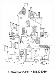 Hand drawn houses with windows, laundry, street, vector illustration