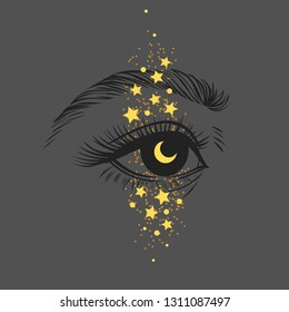 Hand drawn human eye with sparkling makeup. Vector illustration