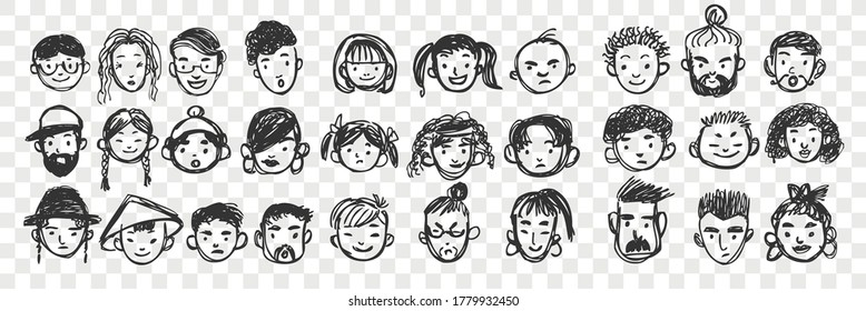 Hand drawn human faces doodle set. Collection of pen ink pencil drawing sketches of multiracial international man woman boy girl portraits on transparent background. Illustration of multiethnicity