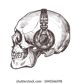 Hand drawn human skull with headphone in the profile. Vector sketch engraving illustration