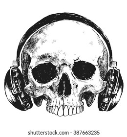 Hand Drawn Human Skull With Headphones, Sketchy Vintage Style, Vector Illustration