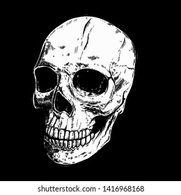 Hand drawn human skull on dark background. Design element for logo, label, sign, pin,poster, t shirt. Vector illustration