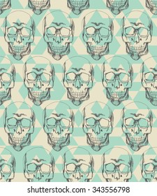 Hand drawn human skull seamless on the blue triangle background