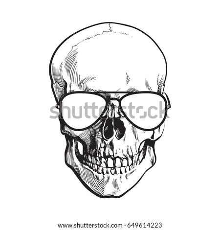 5f748a2dab4 Hand Drawn Human Skull Wearing Black Stock Vector (Royalty Free ...