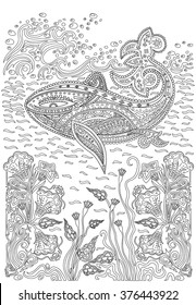 Hand drawn humpback whale in the waves and with seaweed stress Coloring Page with high details, isolated on pattern background, illustration in zentangle style.