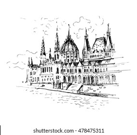 Hand drawn Hungarian parliament in Budapest. Sketch, vector illustration.