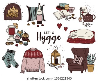Hand drawn hygge set. Cute doodle elements in scandinavian style. Perfect for greeting card, posters, stickers. Vector illustration.