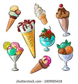 Hand drawn ice cream set isolated on white background. Vector illustration