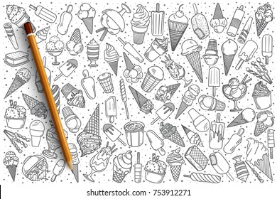Hand drawn ice cream vector doodle set background
