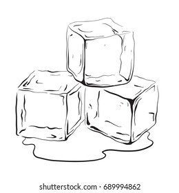 Hand drawn ice cubes. Black and white vector illustration for your creativity