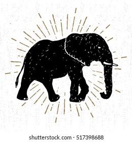 Hand drawn icon with textured elephant vector illustration.
