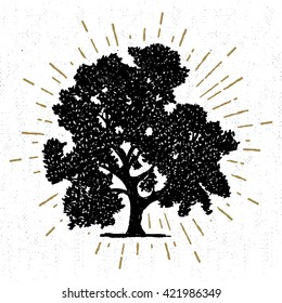 Hand drawn icon with a textured oak tree vector illustration.