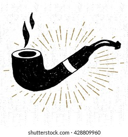 Hand drawn icon with a textured smoking pipe vector illustration.