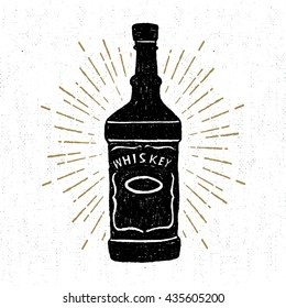 Hand drawn icon with a textured whiskey bottle vector illustration.