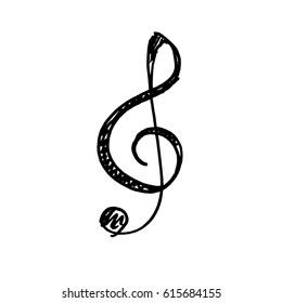 Hand drawn icon of treble clef. Sketch, vector illustration.