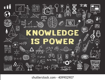 Hand drawn icons about KNOWLEDGE is power on chalkboard