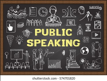 Hand drawn icons about public speaking on chalkboard