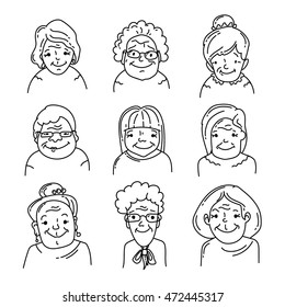 Hand drawn icons set. Faces of grandmothers
