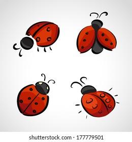 Hand drawn icons set - ladybird (ladybug)