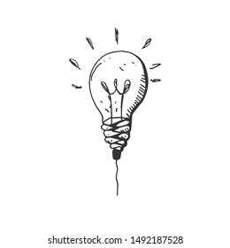 hand drawn Idea Light bulb icon black. on white background. vector