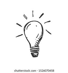 hand drawn Idea Light bulb icon black. on white background. vector Illustrator. symbol. web