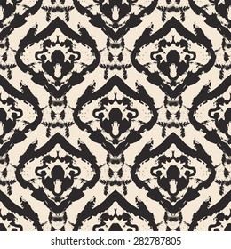Hand drawn ikat batik painted seamless pattern. Vector illustration for tribal ikat design. Ethnic ikat batik motif. For ikat batik invitation, ikat batik textile, ikat batiker, wrapping paper.