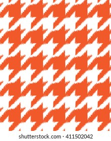 Hand drawn ikat style houndstooth seamless pattern design, repeating vector background for all web and print purposes