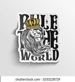 Hand drawn illusion of lion with crown, king, sticker, vector illustration