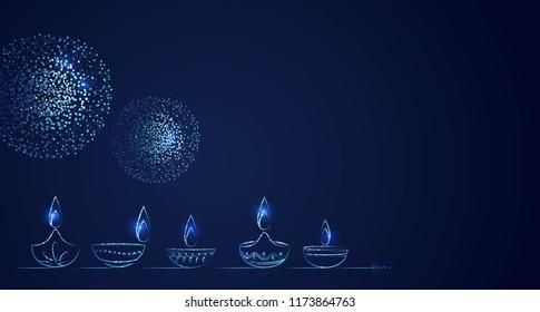Hand Drawn Illusration of Diwali lamps with Lights on Dark Blue Background. Vector Illustration