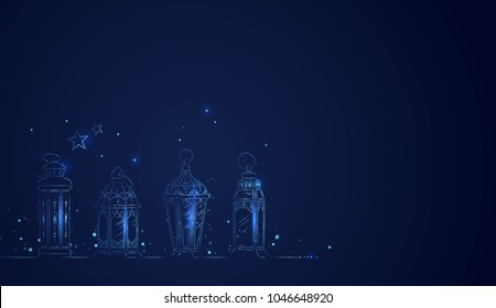 Hand Drawn Illusration of Ramadan Lanterns with Lights on Dark Blue Background. Vector Illustration