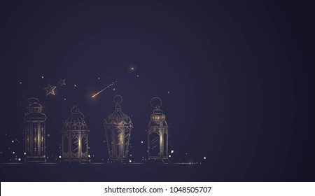 Hand Drawn Illusration of Ramadan Lanterns with Golden Lights on Dark Blue Background. Vector Illustration