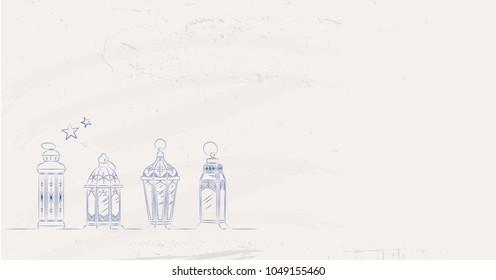 Hand Drawn Illusration of Ramadan Lanterns on Shabby Background. Vector Illustration