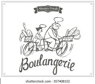 Hand drawn illustrated logo with cute bakers for Family Bakery - black and white style
