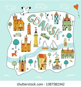 Hand drawn illustrated map of Gdansk with tourist attractions. Travel to Poland concept.