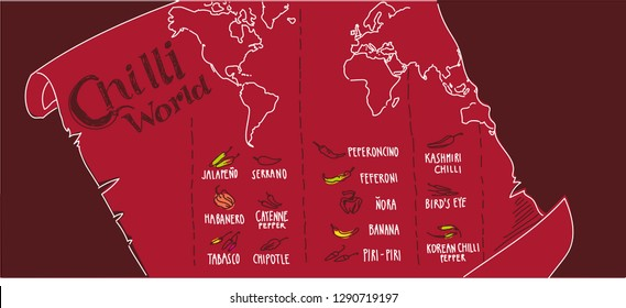 Hand drawn illustrated world map of Chilli peppers origins