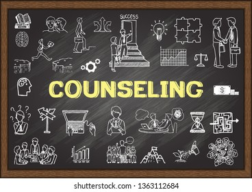 Hand drawn illustration about counseling on chalkboard. Stock vector